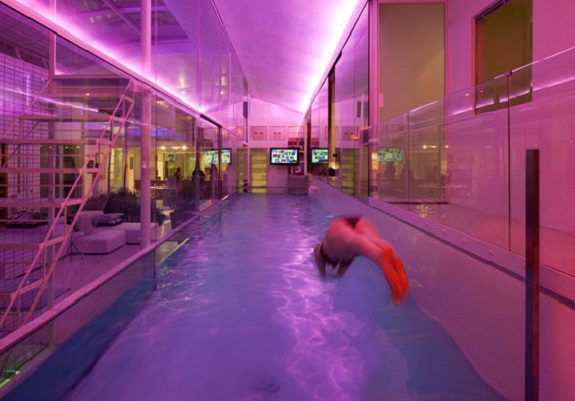 Internal glass swimming pool icreatived for Indoor swimming pool design uk