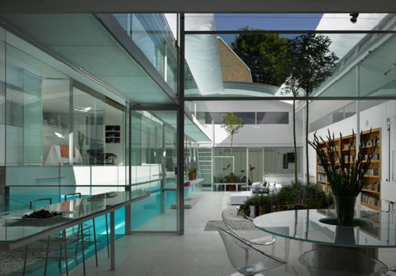 Internal glass swimming pool icreatived for Pool design london