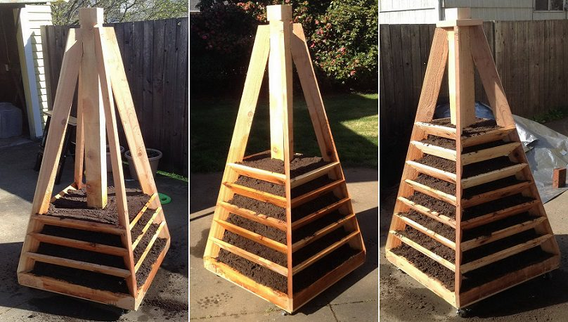 wooden planters for strawberries with Vertical Pyramid Garden Planter Diy on School Fruit Garden as well 473511348291272567 besides Vertical Herb Garden as well Pallet Strawberry Planter besides Vertical Pyramid Garden Planter Diy.