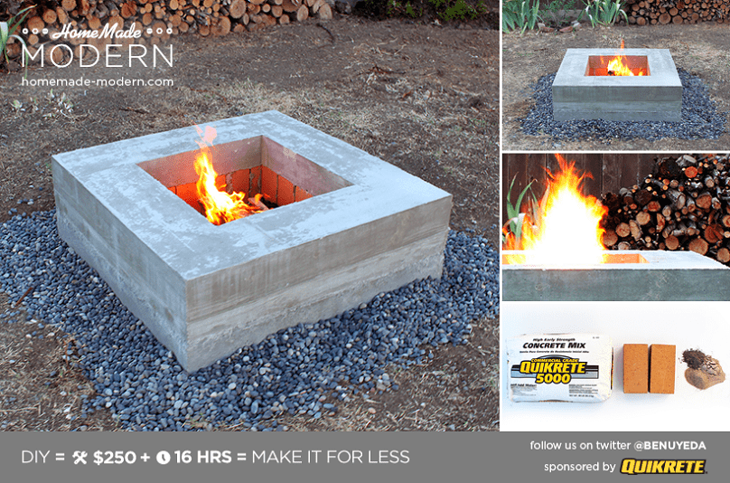 How to build a modern firepit diy icreatived for Modern fire pit