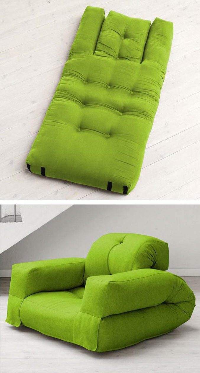 A mattress into a chair.
