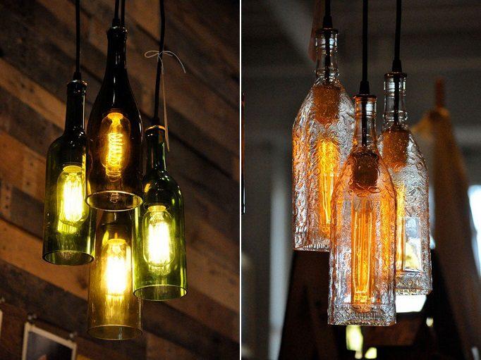 Bottles Into Pendant Lamps