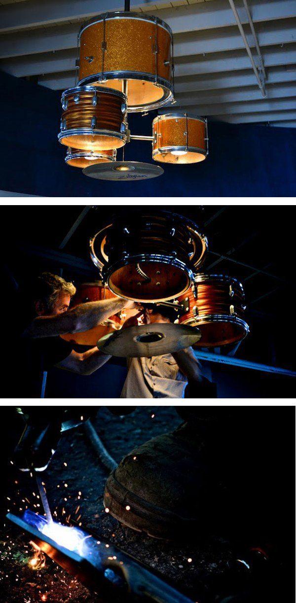 Drum Kit Into Chandelier 1