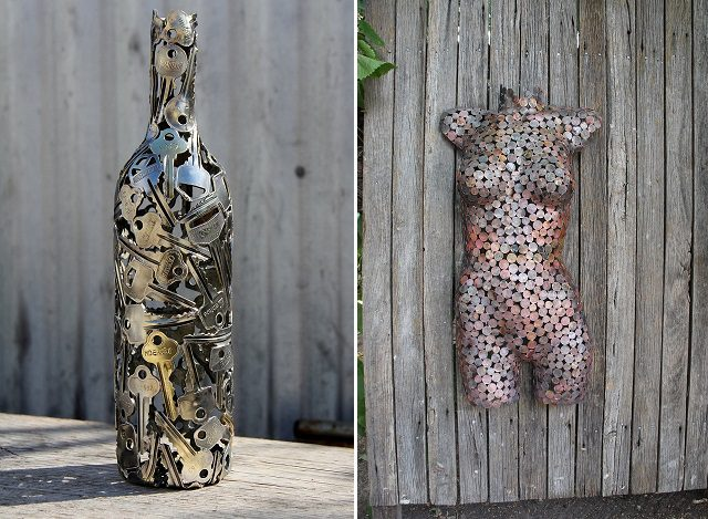 Amazing Sculptures Made By Using Keys And Coins Icreatived