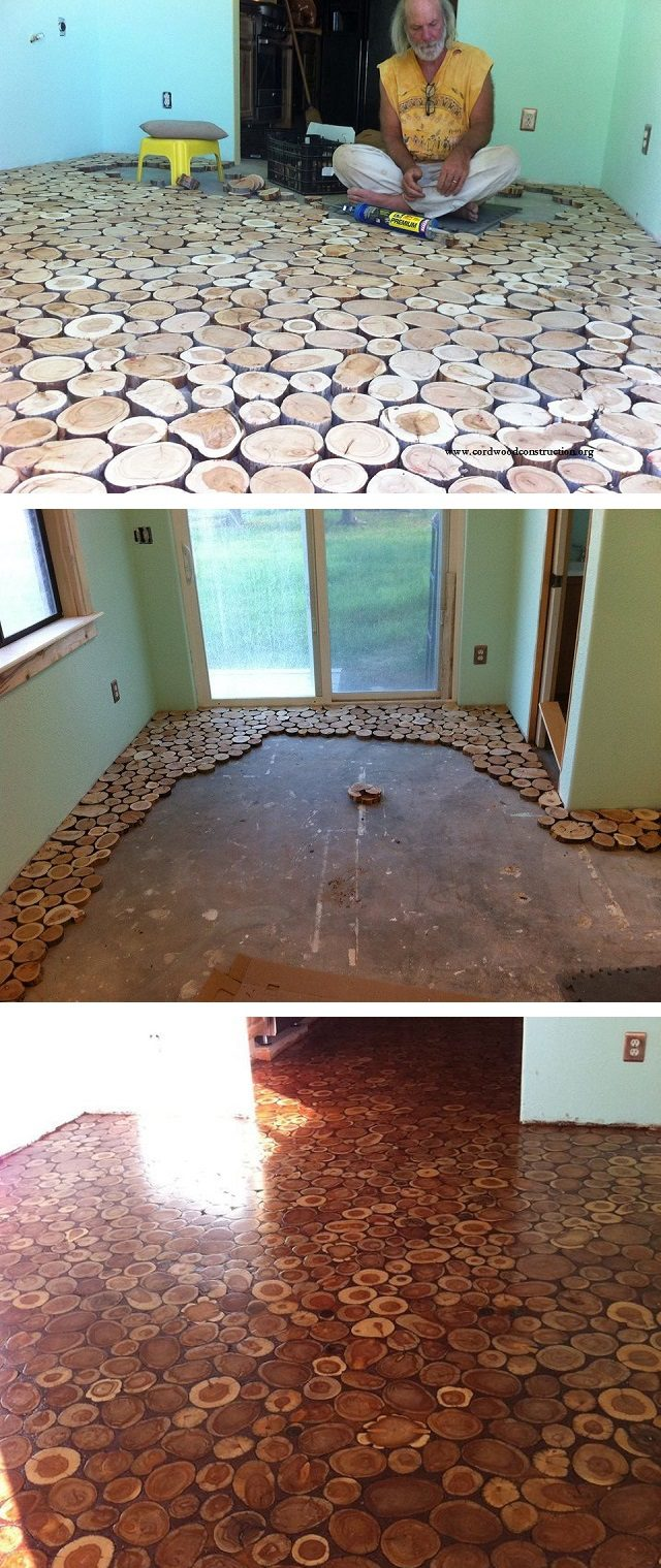 Cordwood Flooring By Sunny Pettis Icreatived