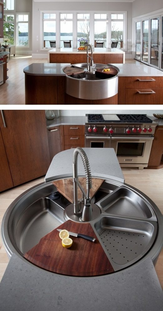 Awesome Rotating Sink has Cutting Board, Colander and More