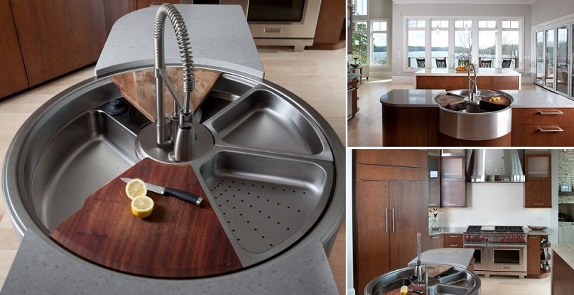 awesome rotating sink has cutting board, colander and more, Kitchen design