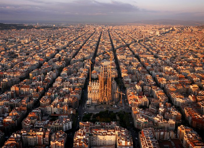 """The """"Eixample"""" district of Barcelona, with Sagrada Familia. The octagonal city blocks were designed to allow light and space on the street corners."""