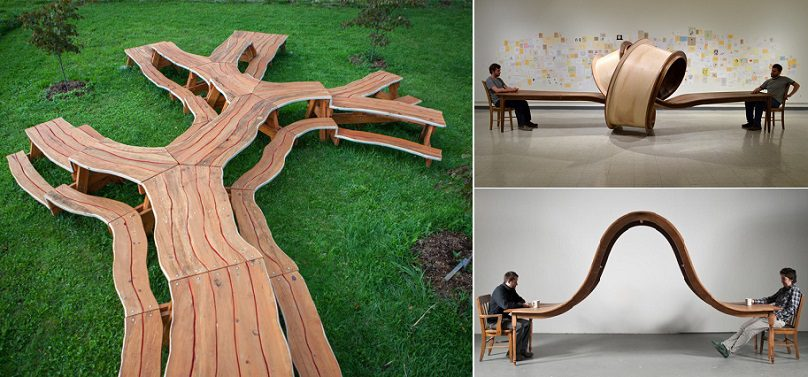 Unique wooden tables by michael beitz icreatived for Unusual table plans