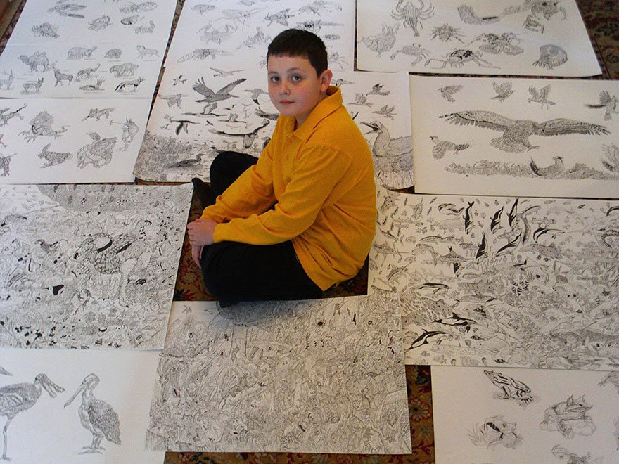 11-Year-Old Artist Creates Amazingly Detailed Drawings of Wildlife 13