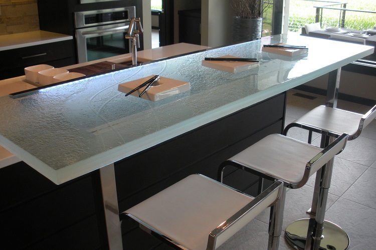 Awesome Raised Bar Glass Countertops