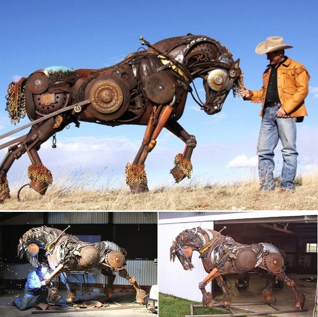 Amazing Sculptures Out of Old Farm Tools 1