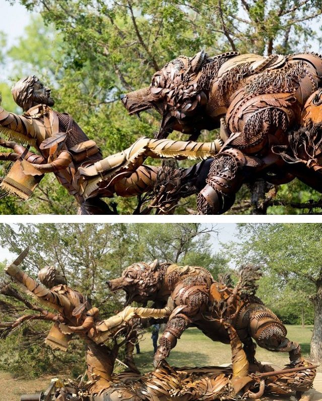 Amazing Sculptures Out of Old Farm Tools 10