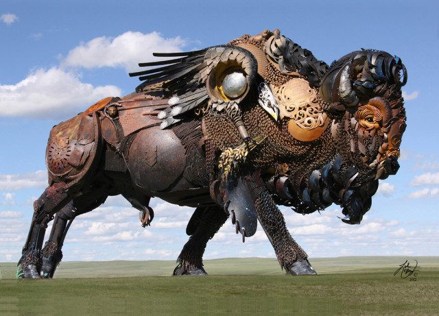 Amazing Sculptures Out of Old Farm Tools 11