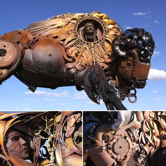 Amazing Sculptures Out of Old Farm Tools 9
