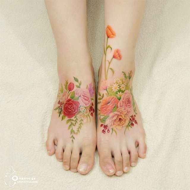 Ethereal Floral Tattoos Mimic Delicate Watercolor Paintings on Skin 1