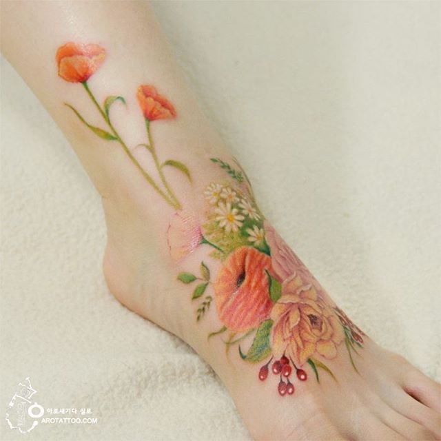 Ethereal Floral Tattoos Mimic Delicate Watercolor Paintings on Skin 2