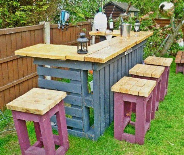 Diy pallets garden bar icreatived for Diy backyard bar