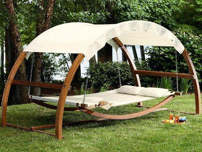 relax in nature with a cozy swing bed icreatived