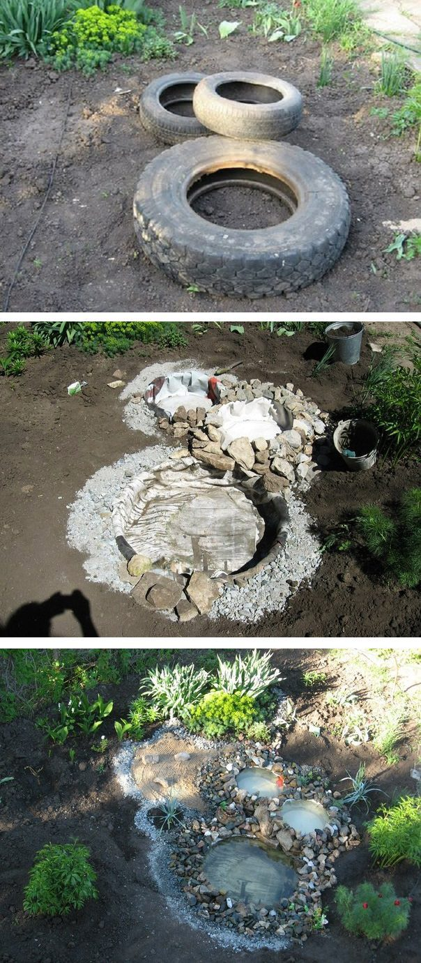 How to build relaxing pond in your garden from recycled for How to make a tire garden