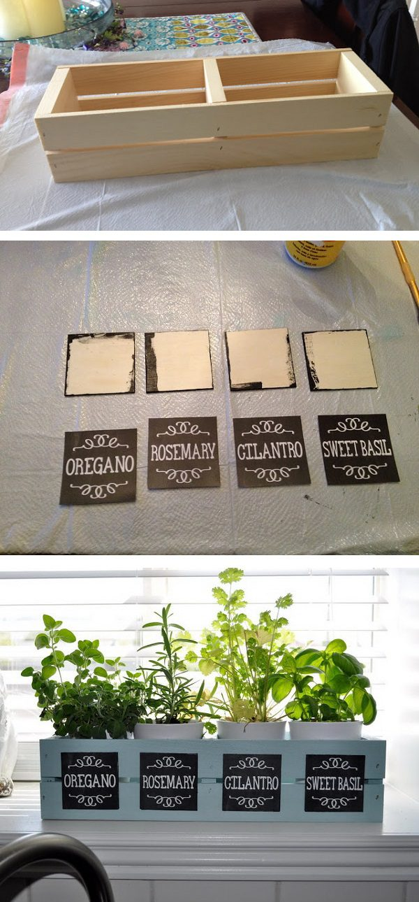 Window Box Planter with Chalkboard Labels