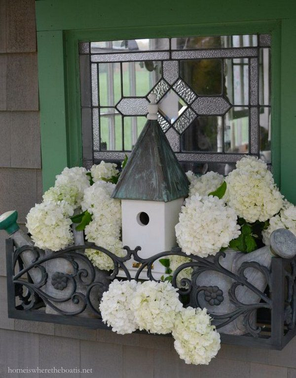 Potting Shed Window Box with Watering Cans, Bird House and Snowball Viburnum