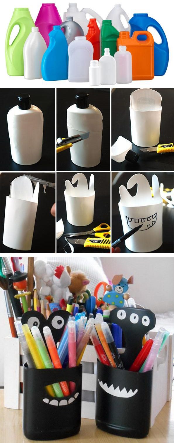 Diy Plastic Bottle Pencil Holder Icreatived