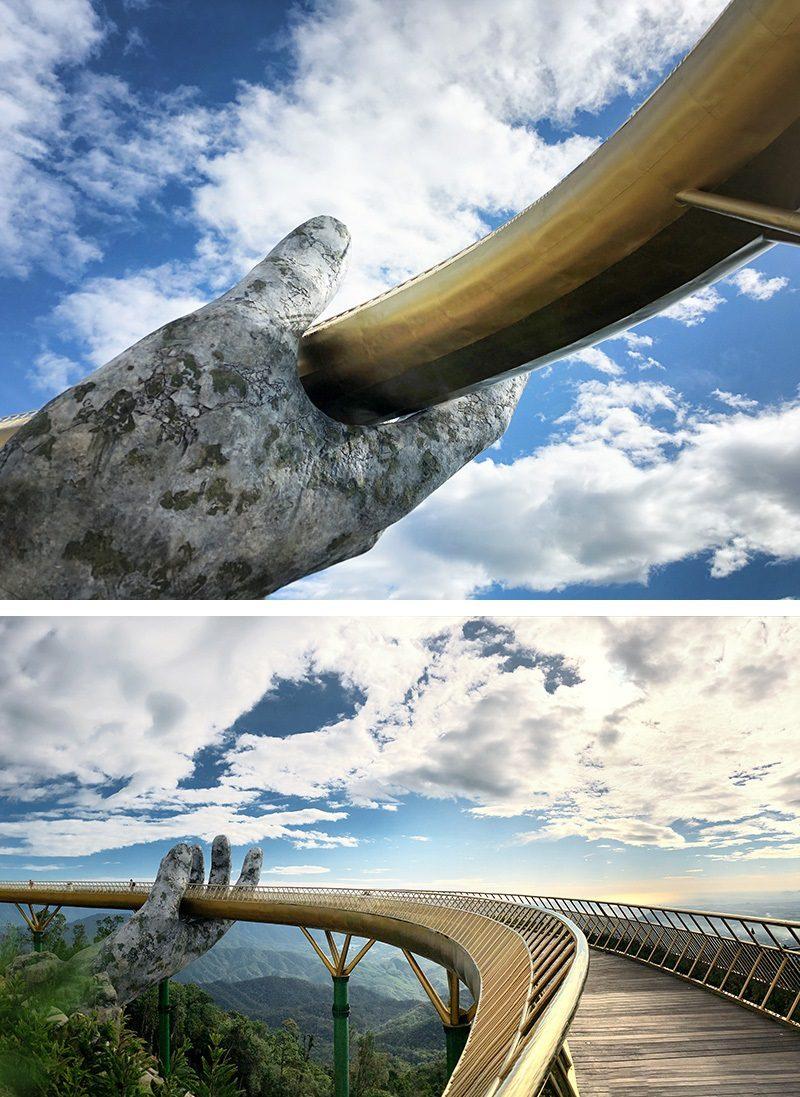 Two gigantic hands hold the Golden Bridge in Vietnam