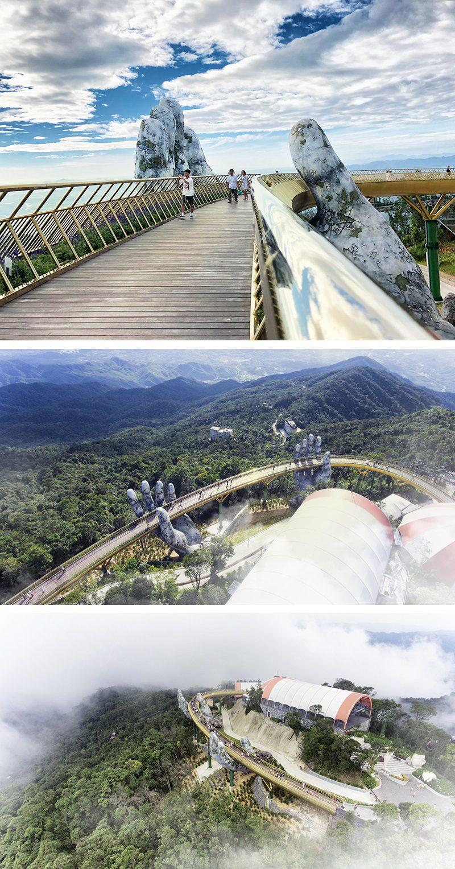Giant Hands Hold The Golden Bridge In Vietnam Icreatived