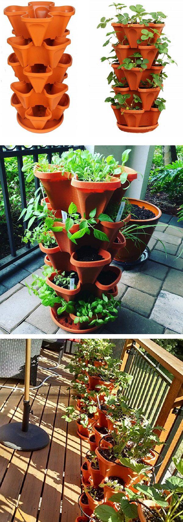 5 stackable strawberries, herbs, flowers and vegetables