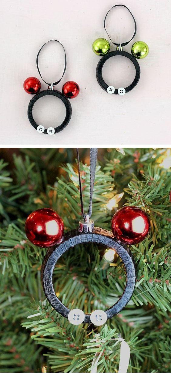 Mickey and Minnie DIY Mason Jar Lid Ornaments