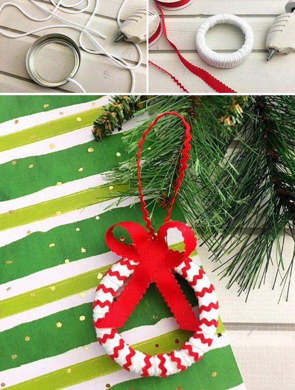 Candy Cane Mason Jar Lid Ornament