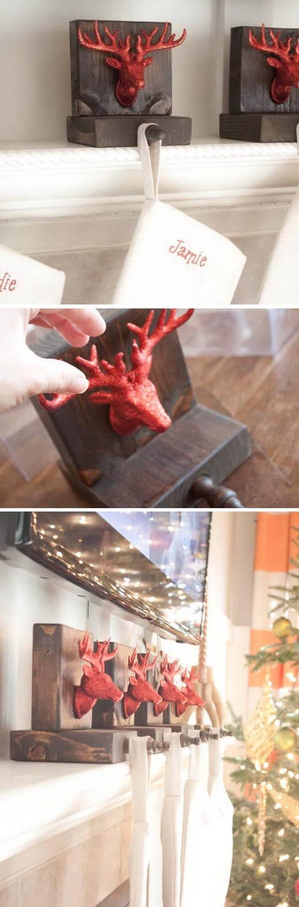 DIY Wooden Reindeer Stocking Holders