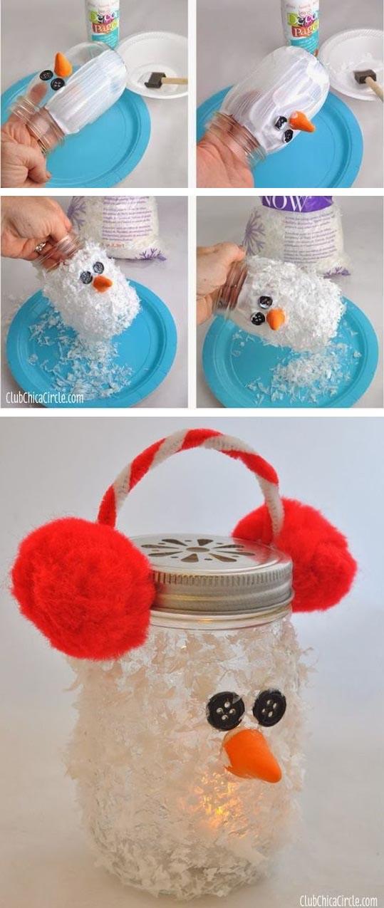 DIY Snowman Mason Jar Luminary