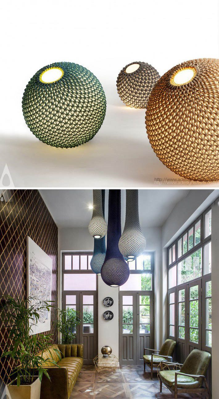 Knitted Unique and original lighting collection byAriel Zuckerman