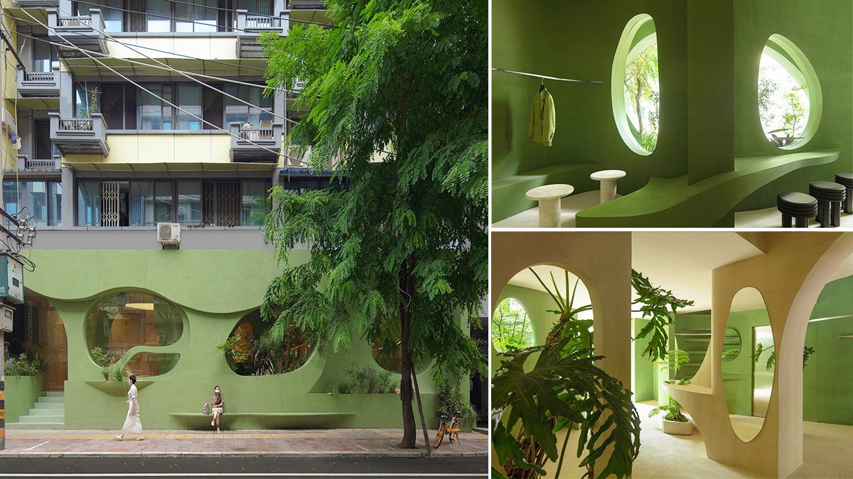 Nature Enters This Pastel Green Café in China Through Irregular Curves